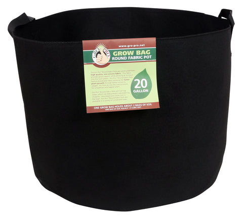 "Gro Pro Fabric Pot 20 gal w handles black  21""dx15""h"