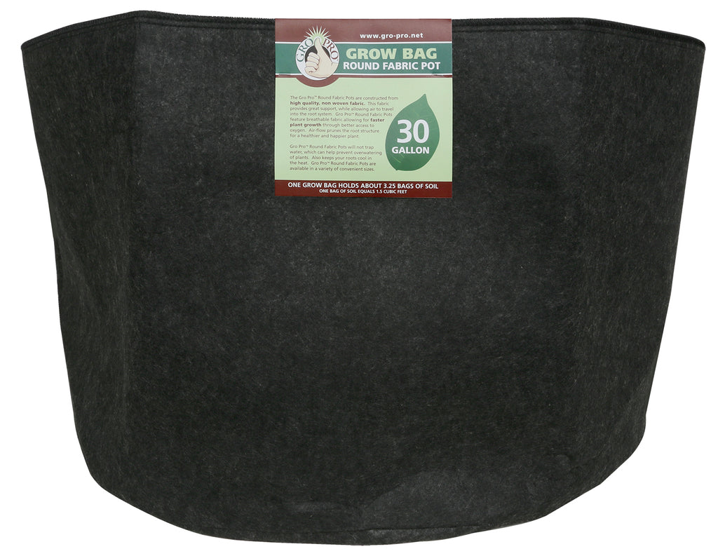 "Gro Pro Fabric Pot 30 gal black  26""dx16""h"