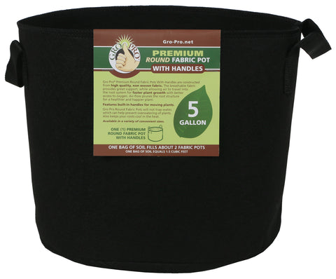 "Gro Pro Fabric Pot 5 gal w handles black  14""dx10.2""h"