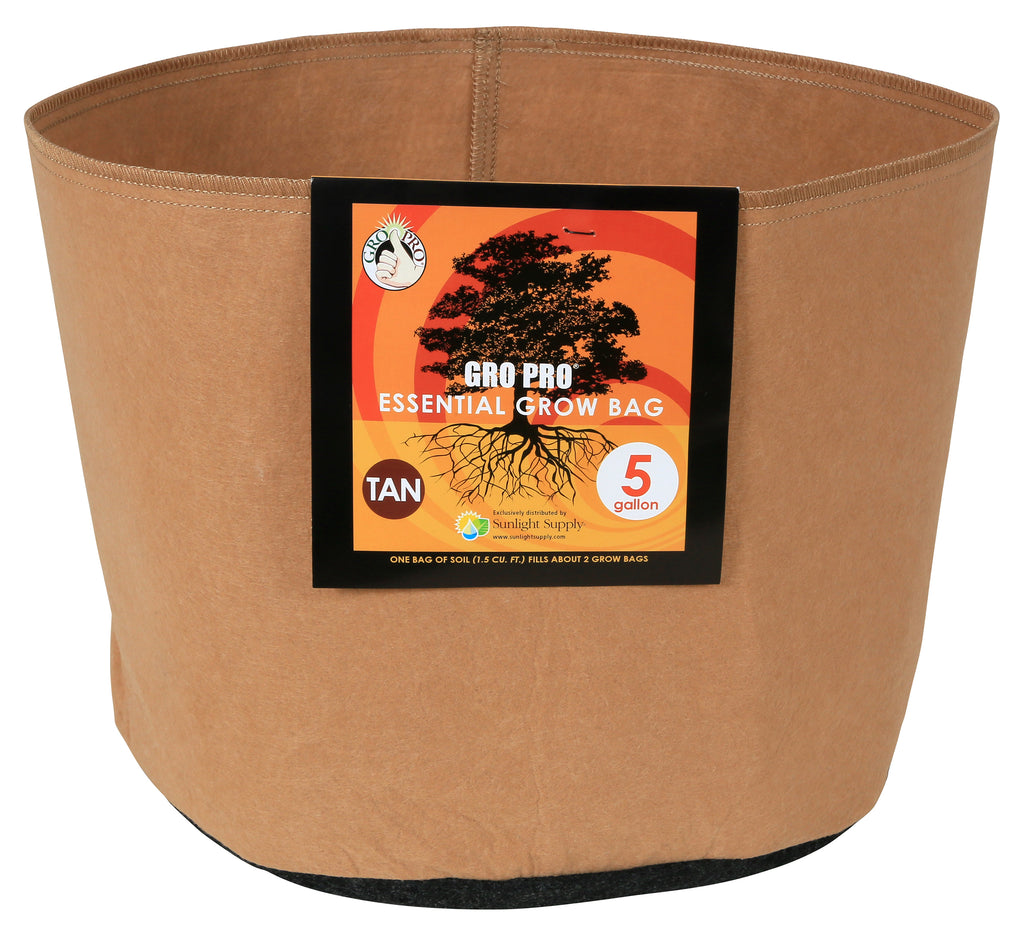 "Gro Pro Fabric Pot 5gal no handles Tan  14""dx10.2""h"
