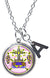 "My Altar Baron Samedi Healing Resurrection Voodoo & Initial Charm Steel 24"" Necklace"