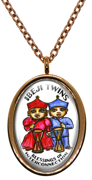My Altar Ibeji Twins Orishas of Blessings for Interconnection Stainless Steel Pendant Necklace