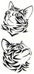 Tiger Cats Watercolor Temporary Tattoos 2 Sheets