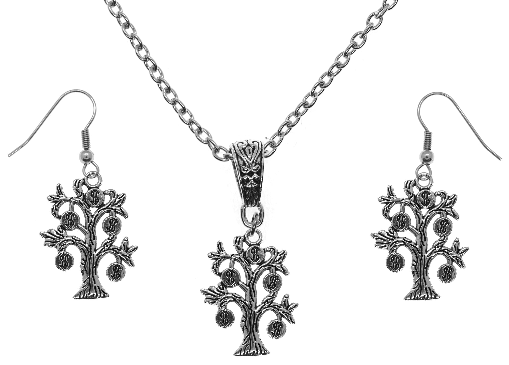 Big Lucky Money Tree Law of Attraction Magic Silver Charm Chain Necklace and Earrings Set
