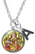 "My Altar Goddess Durga of Divine Force Pendant & Initial Charm Steel 24"" Necklace"