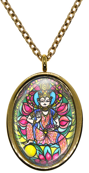 My Altar Goddess Kwan Kuan Yin for Love & Beauty Stainless Steel Pendant Necklace