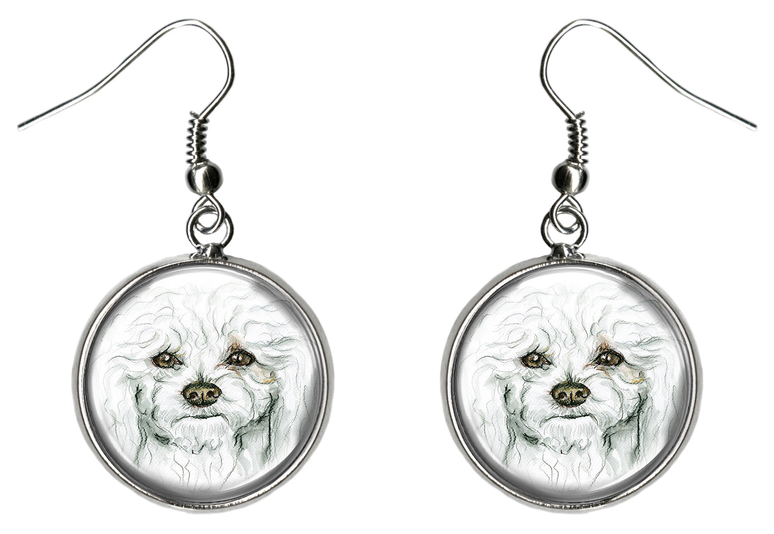 Poodle Dog Silver Hypoallergenic Stainless Steel Earrings