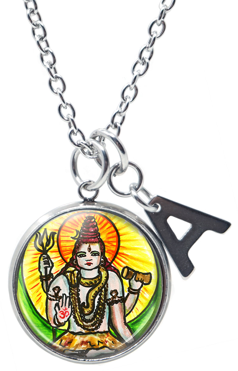 "My Altar Lord Shiva Consciousness Manifestation & Initial Charm Steel 24"" Necklace"
