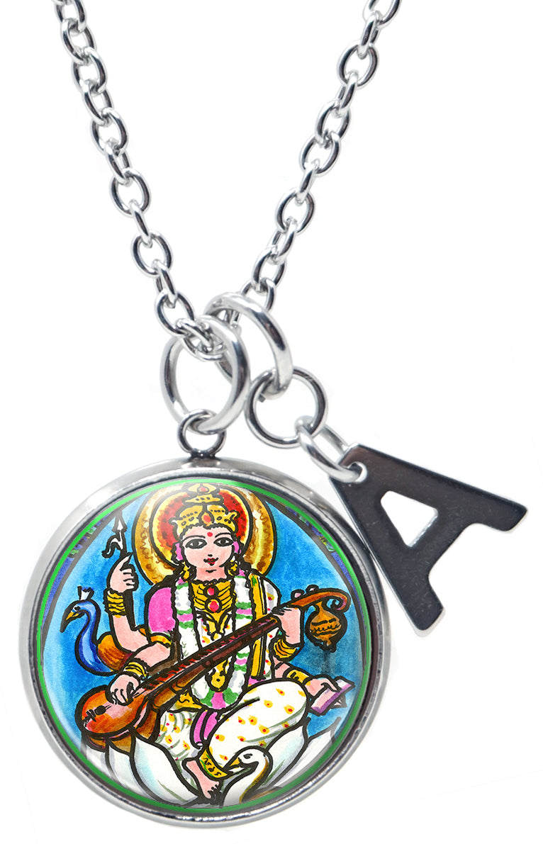 "My Altar Goddess Saraswati Knowledge Music Arts & Initial Charm Steel 24"" Necklace"