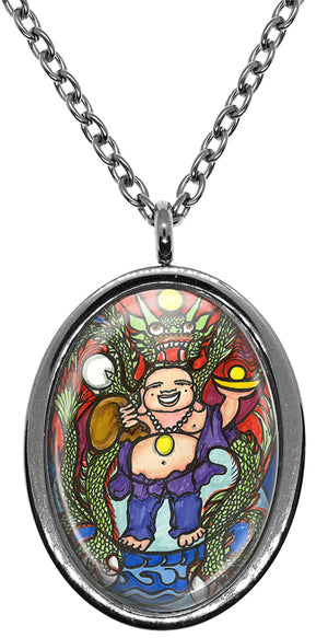 My Altar Lucky Dragon Buddha for Good Luck & Protection Stainless Steel Pendant Necklace