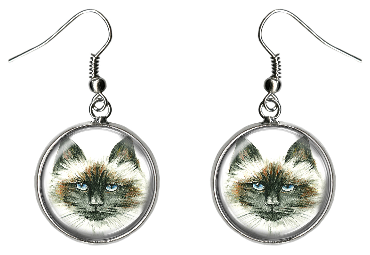 Himalayan Cat Silver Hypoallergenic Stainless Steel Earrings