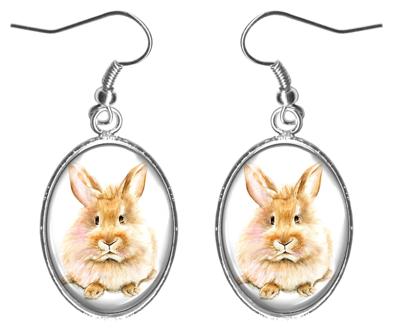 "Bunny Rabbit 1"" Silver Hypoallergenic Steel Earrings"
