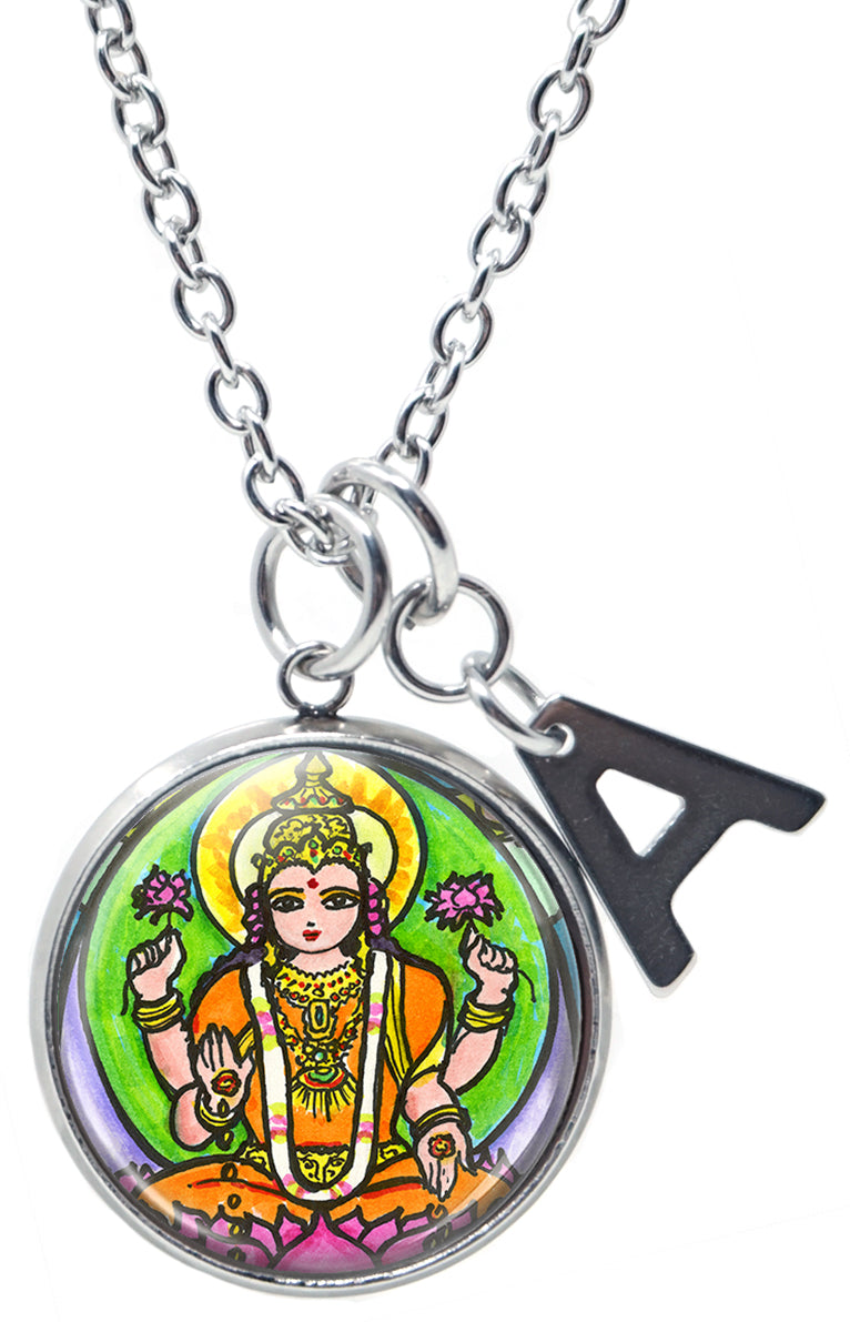 "My Altar Goddess Lakshmi Wealth Fortune Pendant & Initial Charm Steel 24"" Necklace"