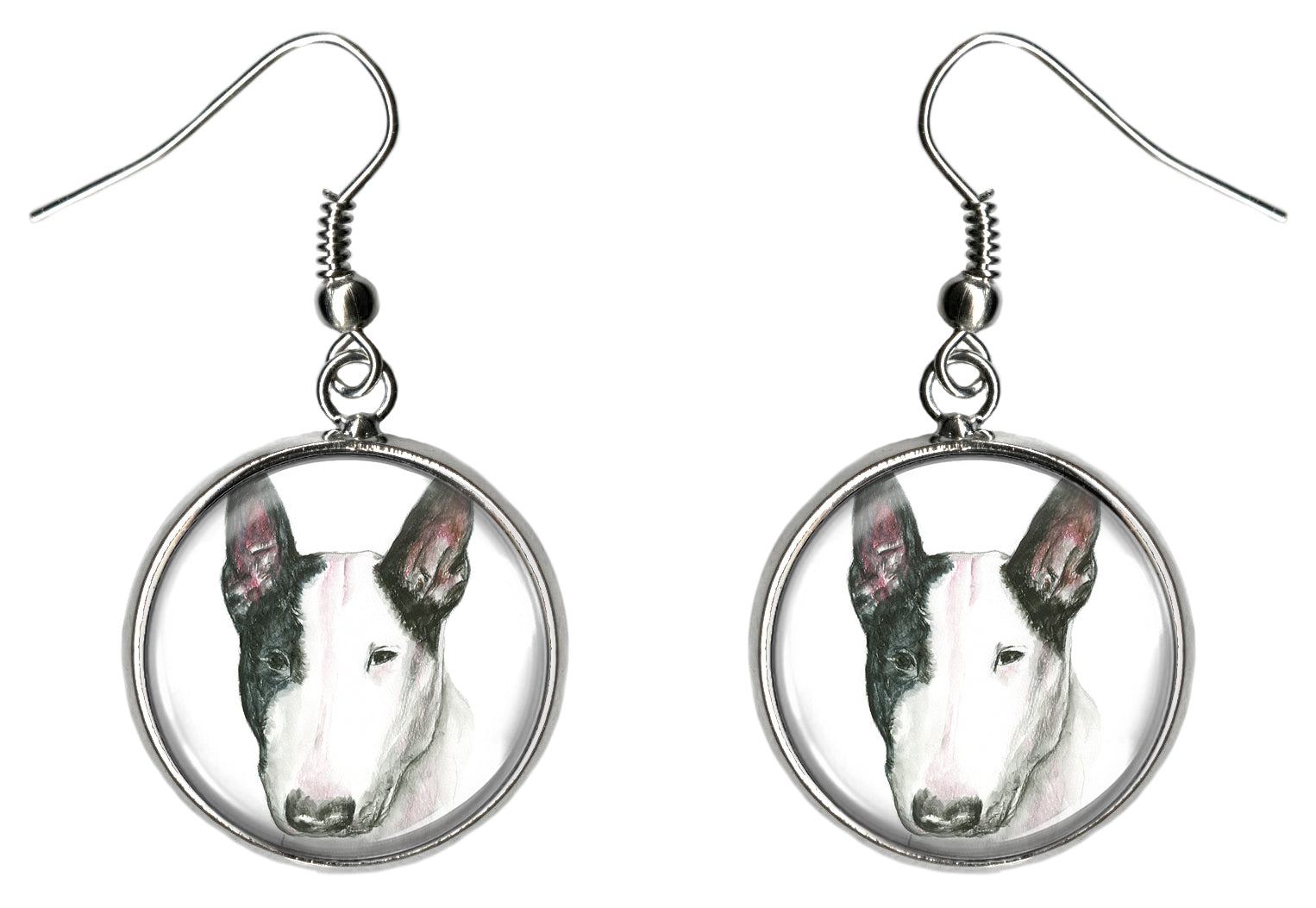 Bull Terrier Dog Silver Hypoallergenic Stainless Steel Earrings