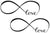 Infinite Love Infinity Symbol Black Waterproof Temporary Tattoos 2 Sheets