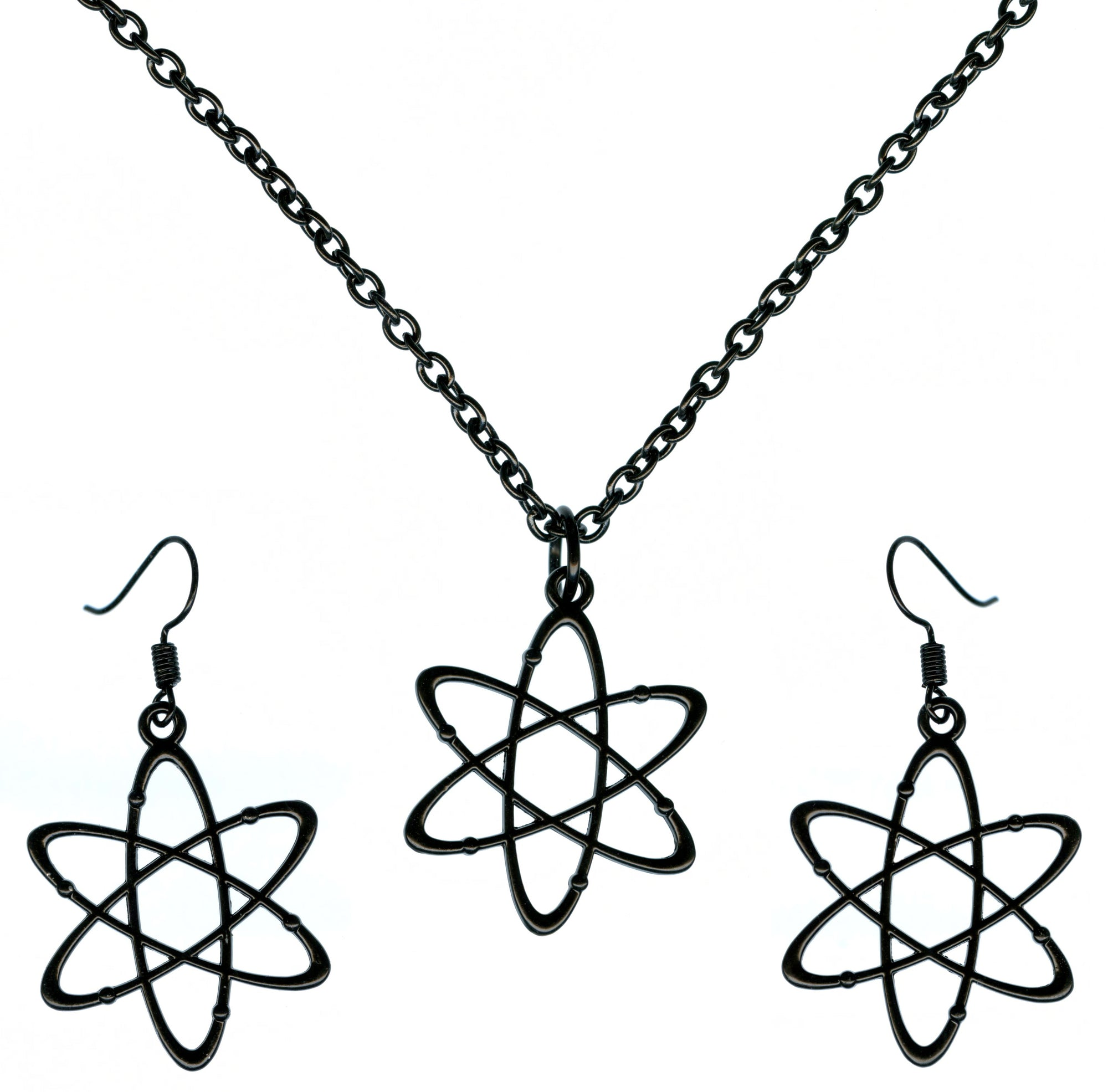 Science Atom Big Charms Chain Necklace and Earrings Set in Black