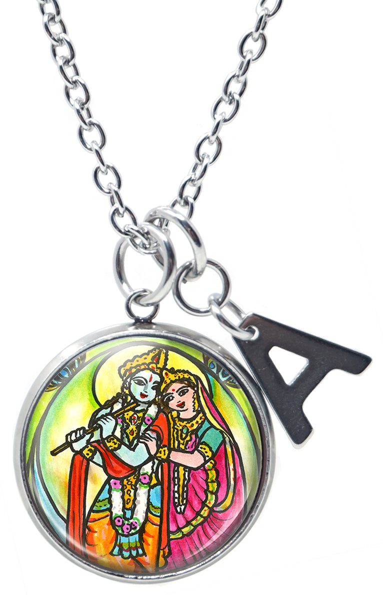 "My Altar Radha Krishna for Soul Mate Connections & Initial Charm Steel 24"" Necklace"