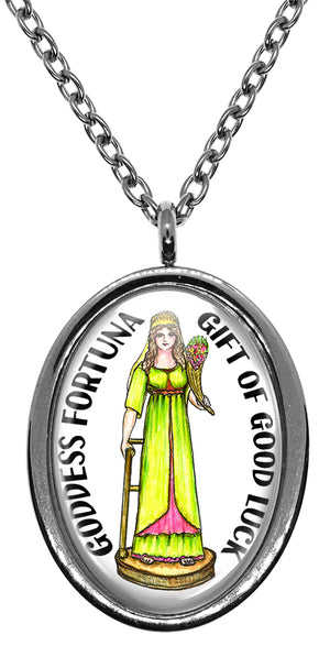 My Altar Goddess Fortuna Gift of Good Luck Stainless Steel Pendant Necklace