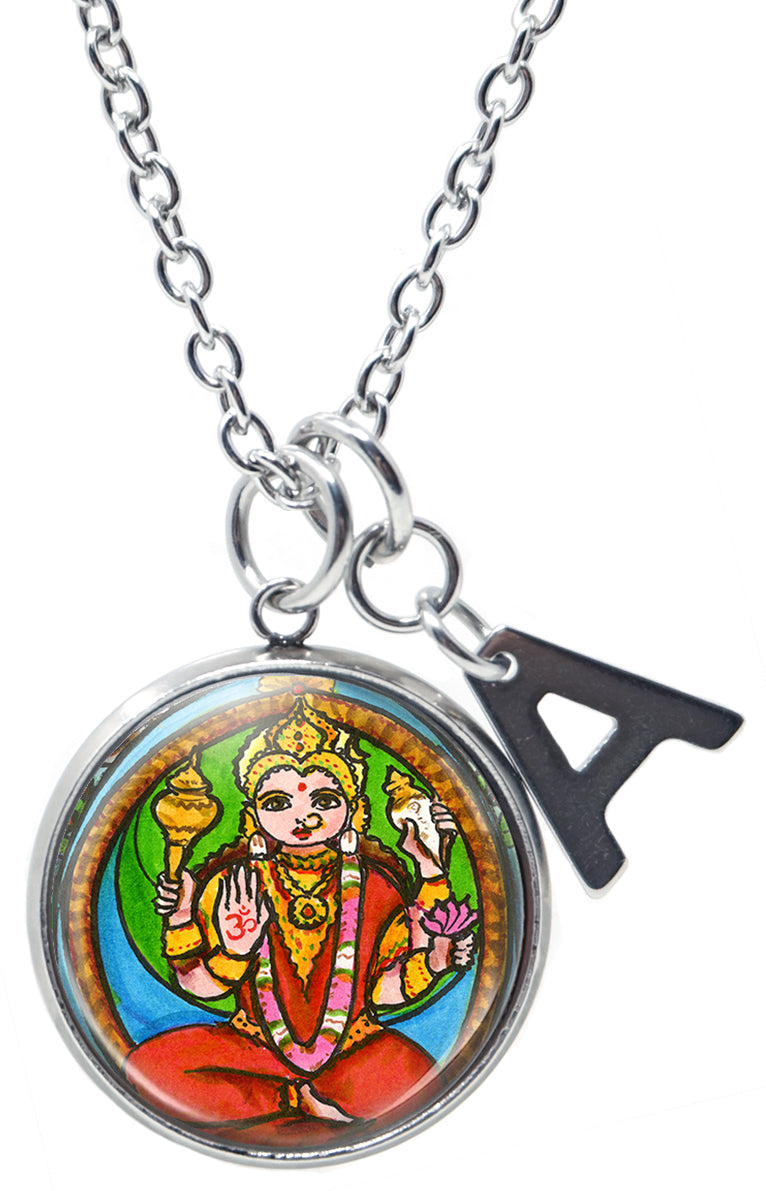 "My Altar Goddess Shakti of Primal Energy & Initial Charm Steel 24"" Necklace"