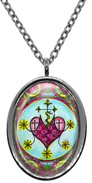 My Altar Marie Laveau Veve Voodoo Queen for Psychic Healing & Love Magick Stainless Steel Pendant Necklace