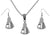 Big Medical Science Lab Beaker Silver Charm Chain Necklace and Earrings Set