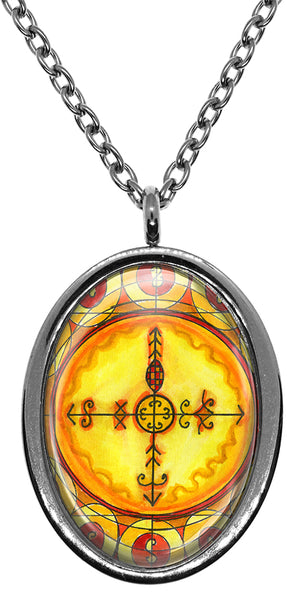 Marinette Fierce Sorceress of Power Veve for Voodoo Magick Stainless Steel Pendant Necklace