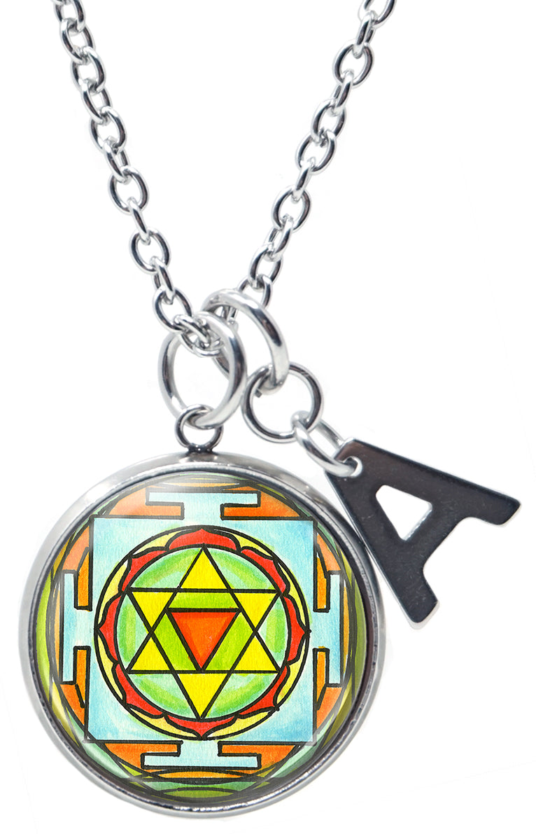 "Baglamukhi Yantra for Victory, Success & Protection Against Enemies Pendant & Initial Charm Steel 24"" Necklace"