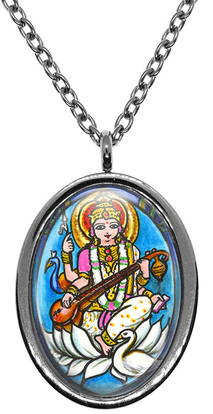 My Altar Goddess Saraswati for Knowledge, Music, Arts Stainless Steel Pendant Necklace