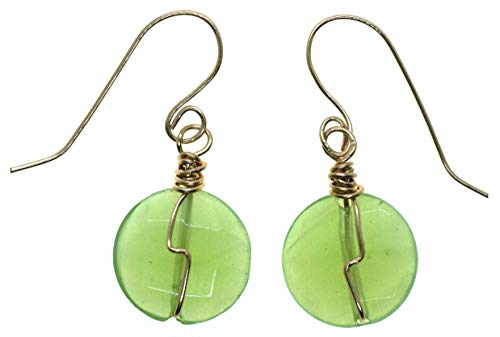 Small Genuine Green Jade Gemstone 14k Gold Filled Wire Wrapped Earrings