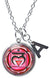 "Muladhara 1st Chakra Red Love Root Pendant & Initial Charm Steel 24"" Necklace"