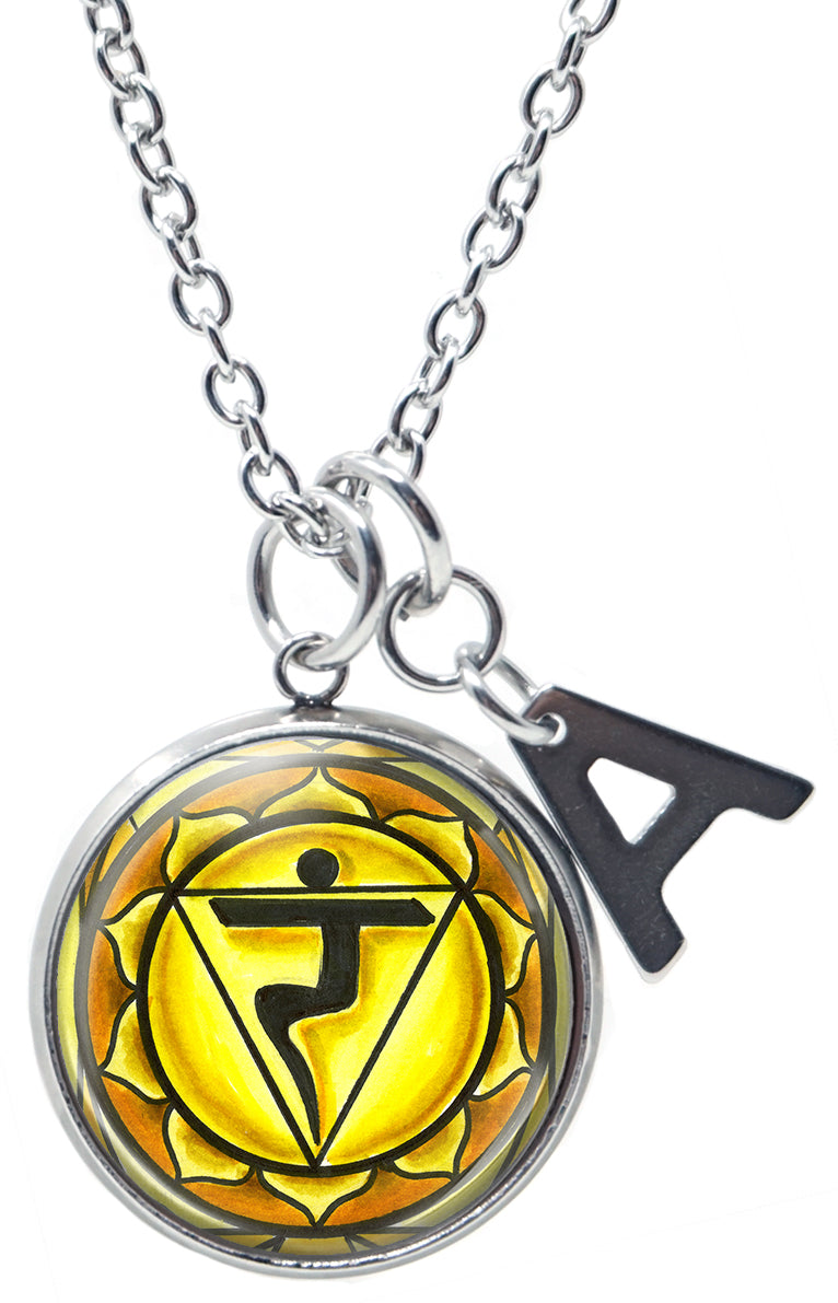 "My Altar Manipura 3rd Chakra Yellow Intuition Pendant & Initial Charm Steel 24"" Necklace"