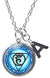 "My Altar Vishuddha 5th Chakra Blue Expression Pendant & Initial Charm Steel 24"" Necklace"