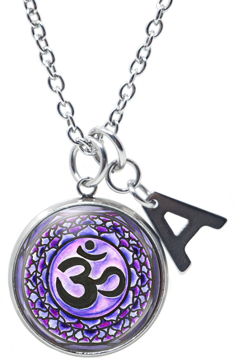 "My Altar Sahasrara 7th Chakra Purple Enlightenment & Initial Charm Steel 24"" Necklace"