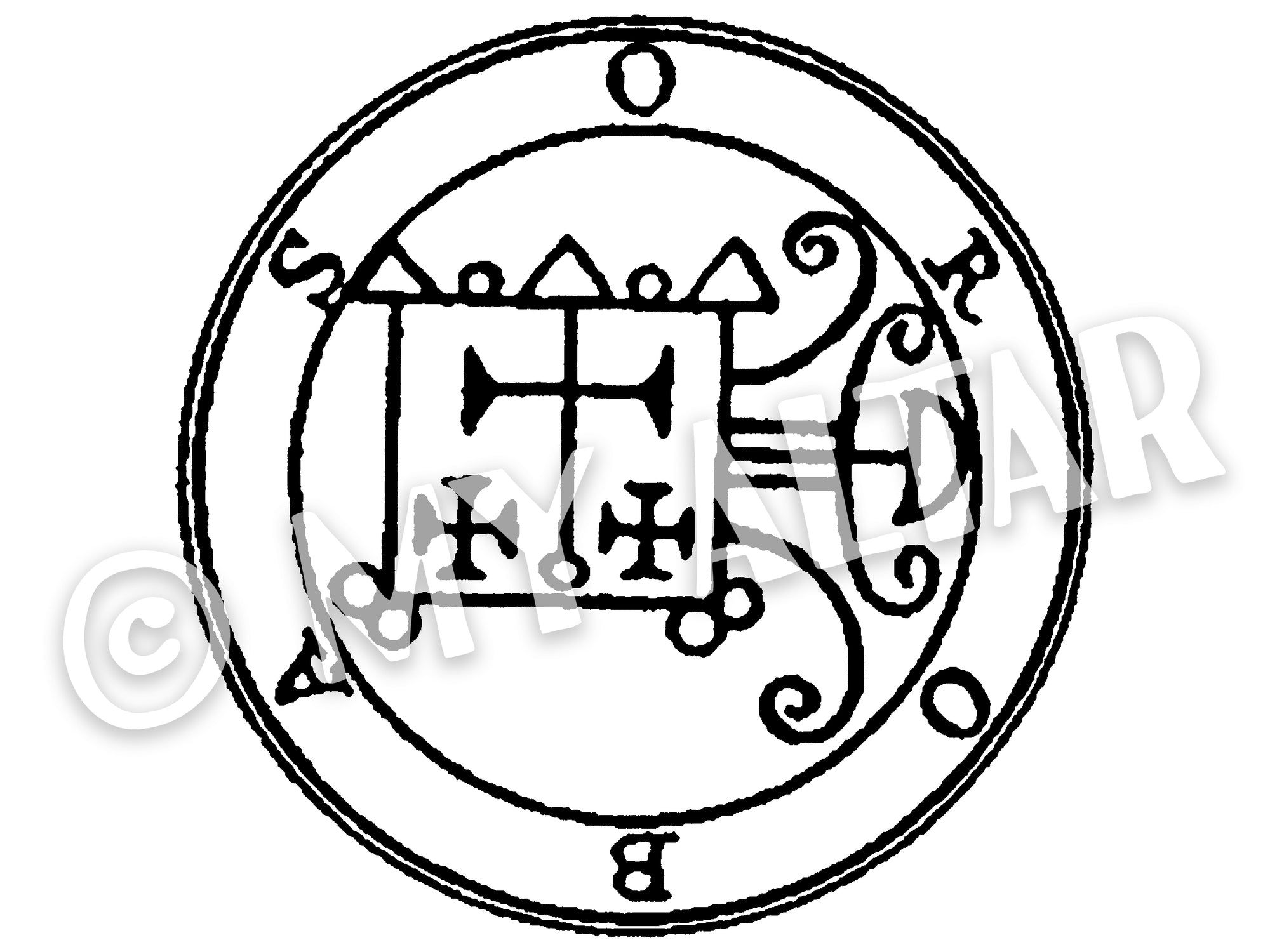 "Set of 2 Large 5"" Orobas 55th Lesser Seal Goetia Solomon Invocation Sigil Waterproof Temporary Tattoos"
