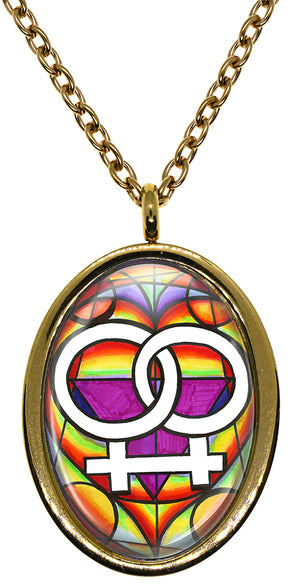 My Altar Lesbian Love Symbol LGBT Rainbow Pride Protection Stainless Steel Pendant Necklace