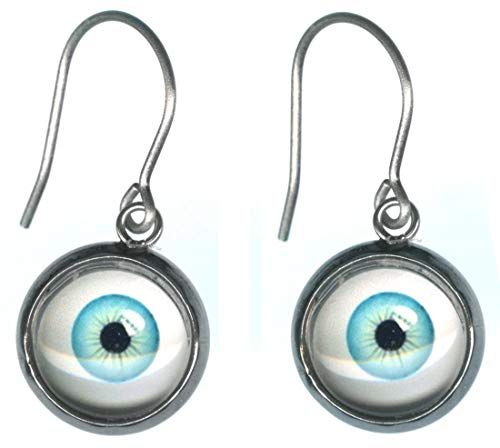 Small Light Blue Glass Eye Ball Steel Charm and Titanium Earrings Hypoallergenic for Sensitive Ears