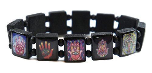 Hamsa Protection and Success Symbols Prayer Black Wood Stretch Bracelet