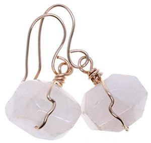 Genuine Rose Quartz Gemstone 14k Rose Gold Filled Wire Wrapped Earrings