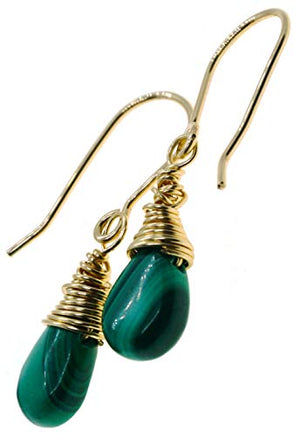 Genuine Green Malachite Briolette Gemstone 14k Gold Filled Wire Wrapped Earrings