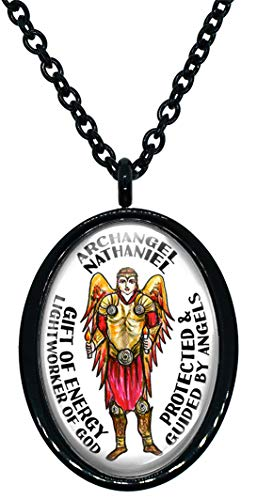 My Altar Archangel Nathaniel Gift of Energy Lightworker of God Protected by Angels Steel Pendant Necklace