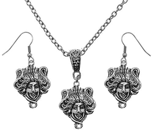 Art Deco Nouveau Goddess Silver Charm Chain Necklace and Earrings Set