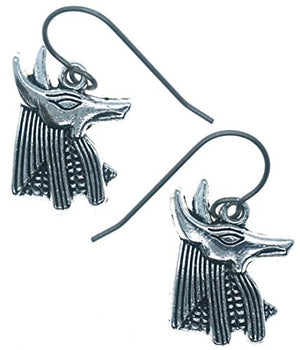 "Abubis Ancient Egyptian Dog God Charms 7/8"" Titanium Earrings Hypoallergenic for Sensitive Ears"