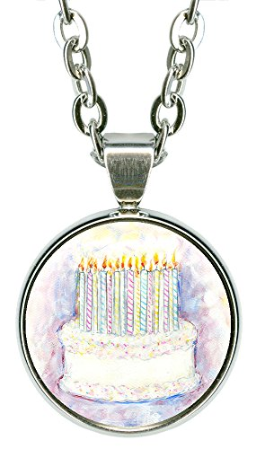 "Birthday Cake 5/8"" Mini Stainless Steel Silver Pendant Necklace"