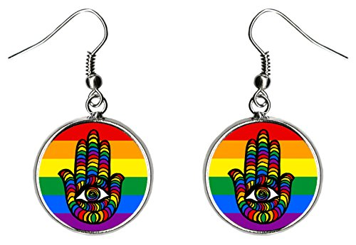 LGBT Rainbow Pride Protection Hamsa Silver Hypoallergenic Steel Earrings