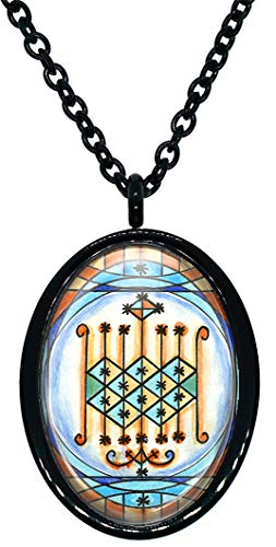 My Altar Orisha Ogun Veve for Voodoo Power Magick Stainless Steel Pendant Necklace