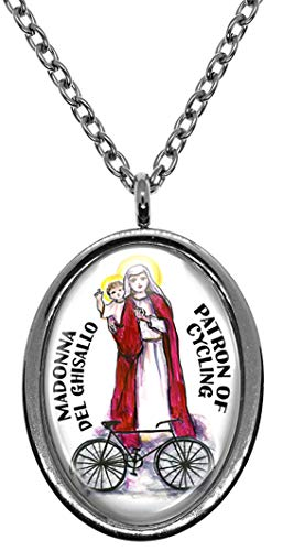 Madonna del Ghisallo Patron of Cycling Silver Stainless Steel Pendant Necklace
