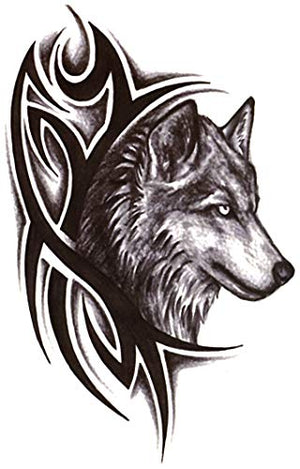 "Tribal Wolf 4 1/2"" x 7"" Temporary Tattoos 2 Sheets"