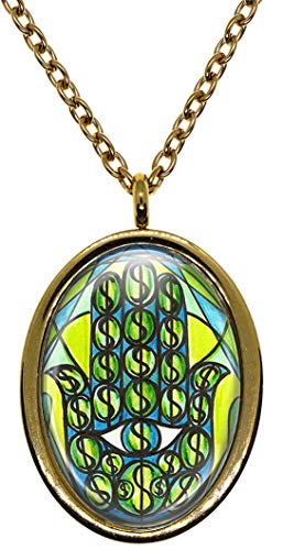 My Altar Wealth Success Manifesting Hamsa Gold Stainless Steel Pendant Necklace