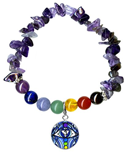 6th Chakra Eye Charm Stretch Amethyst Gem Stone Bracelet