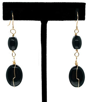 "Genuine Black Onyx Gemstone 2 1/4"" Long Dangling 14k Gold Filled Wire Wrapped Earrings"